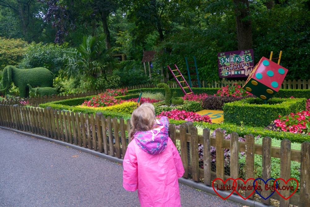 Jessica looking at the Snakes and Ladders Garden