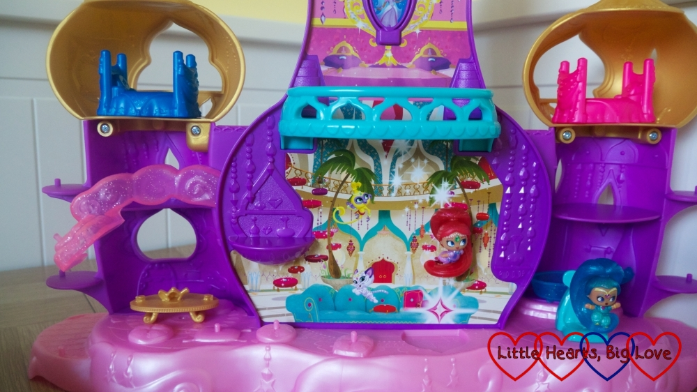 Shimmer floating up in the Shimmer & Shine Floating Genie Palace playset