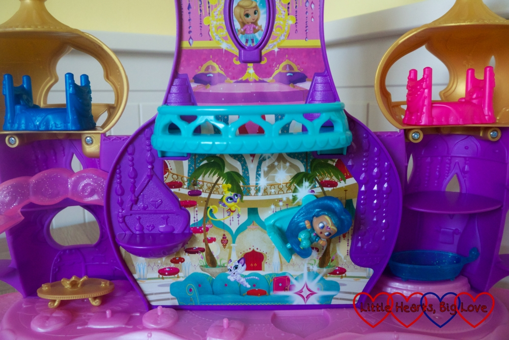 Shine floating in the chair on the Shimmer & Shine Floating Genie Palace playset