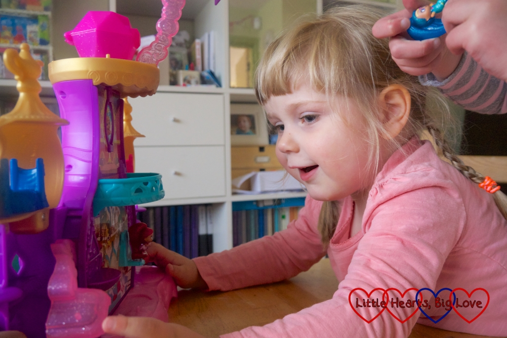 Sophie watching the genies float in the Shimmer & Shine Floating Genie Palace playset