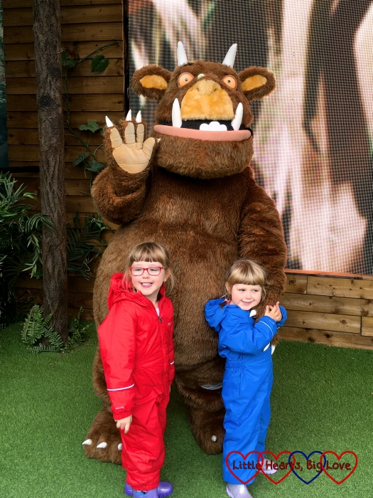 Jessica and Sophie with the Gruffalo at Chessington World of Adventures