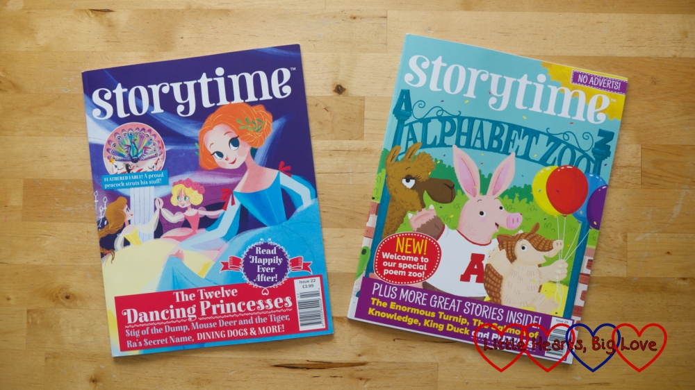 Two issues of Storytime magazine - one with the story of twelve dancing princesses on the front and the other with an alphabet zoo on the front