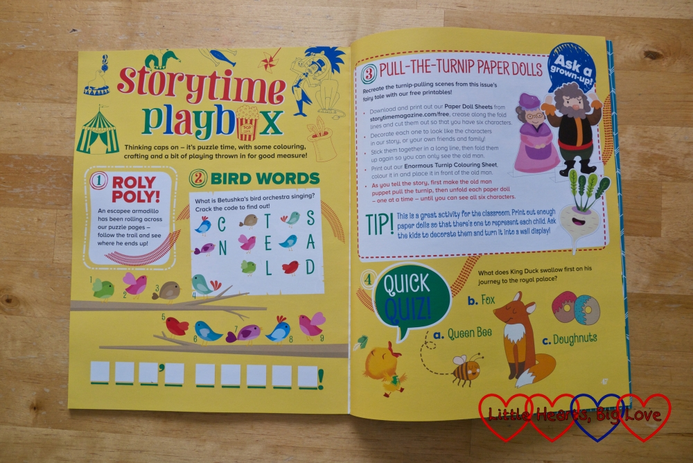 A double page spread from Storytime magazine showing some of the puzzles and activities