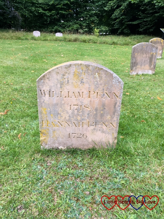 The gravestone of William Penn at Jordans burial ground