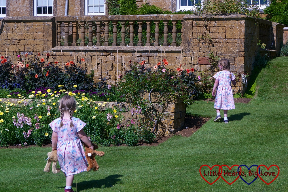 Jessica and Sophie exploring the South Terrace at Upton House