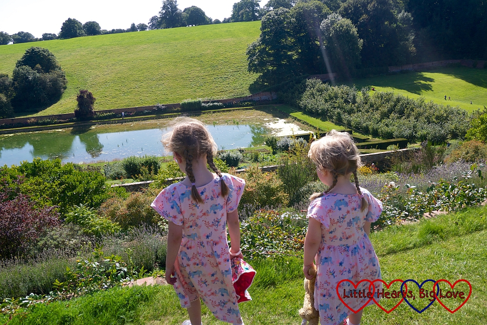 Sophie and Jessica looking towards the Mirror Pool at Upton House