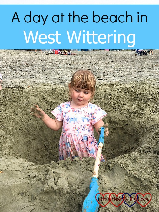 "Sophie digging a hole in the sand - ""A day at the beach in West Wittering"""