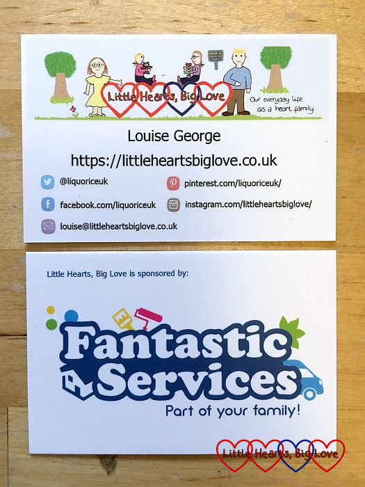 My business cards with my logo and details on one side and the Fantastic Services logo on the reverse
