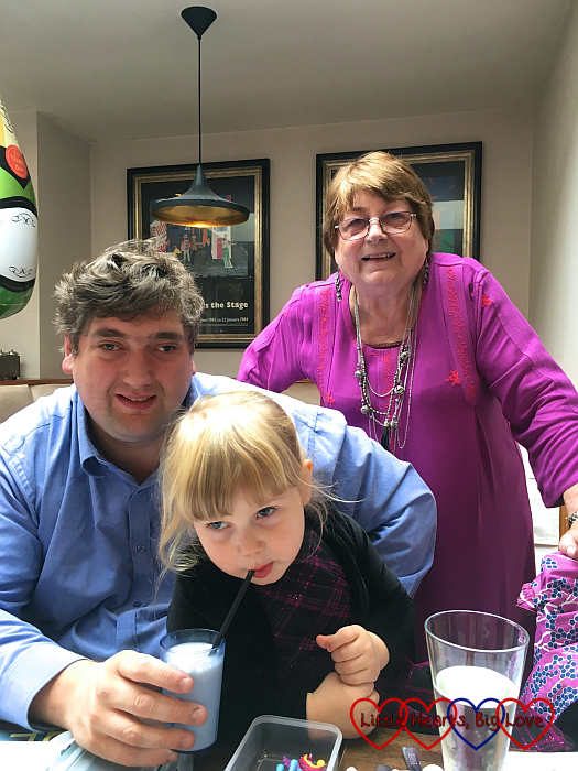 Hubby, his aunt and Sophie out for a meal to celebrate hubby's aunt's birthday