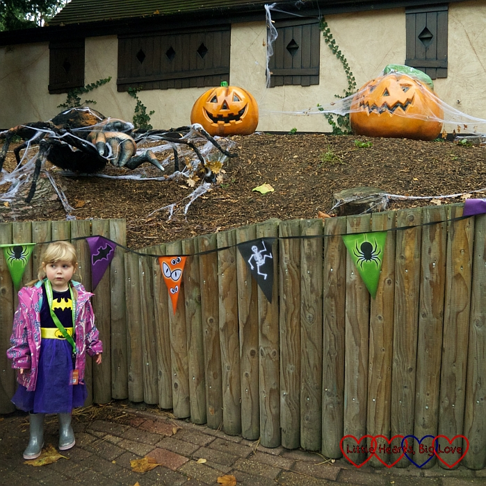 Sophie standing next to pumpkins and a giant spider at Chessington World of Adventures