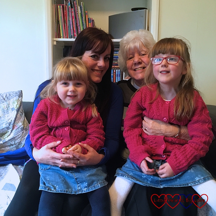 Jessica and Sophie with my mum and twin sister