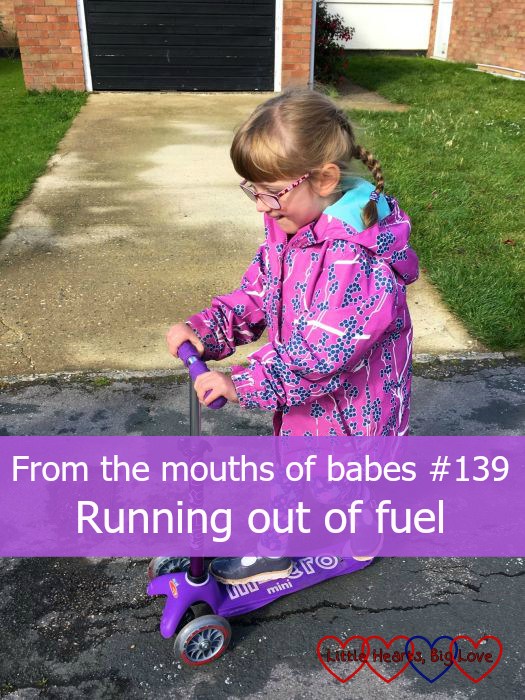 "Jessica riding a scooter - ""From the mouths of babes #139 - Running out of fuel"""