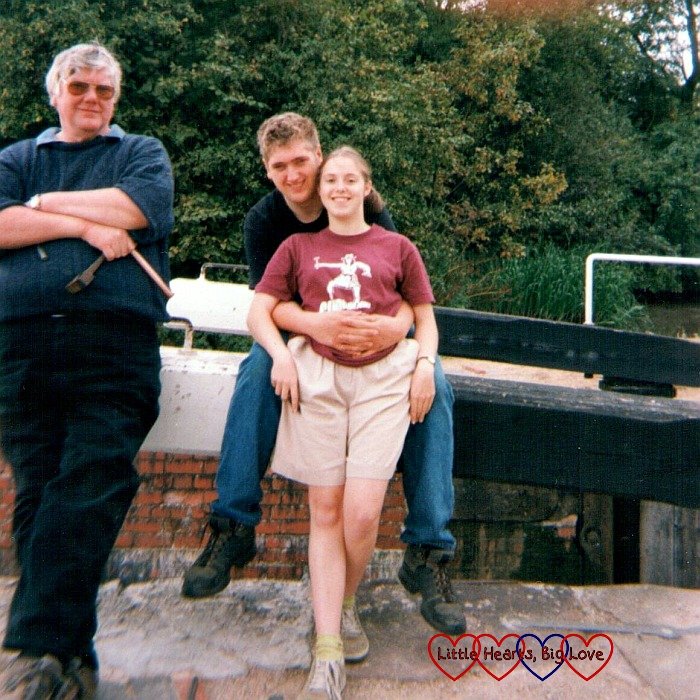 Me, hubby and his dad leaning against a lock gate back in 2002