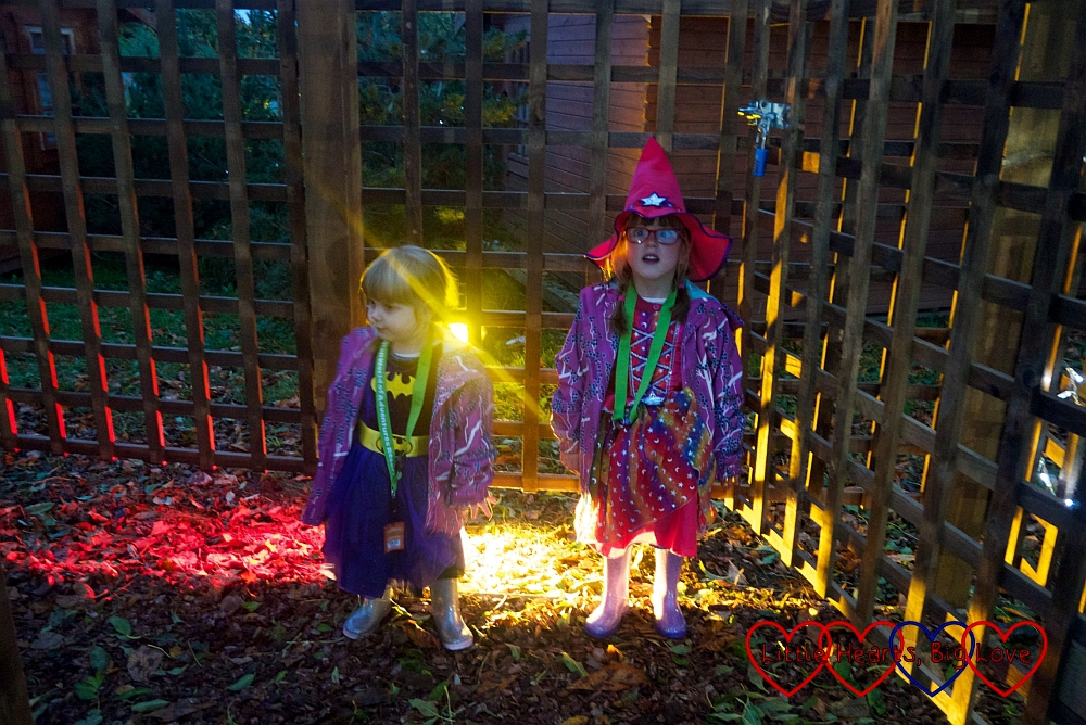 Jessica and Sophie at the entrance to the Trick or Treat woods