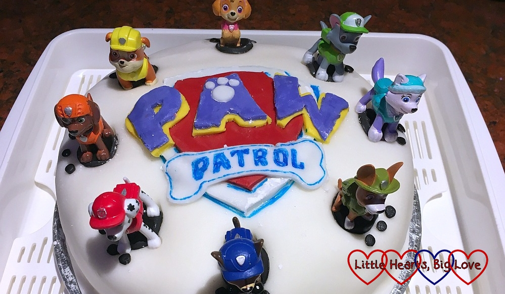 Sophie's Paw Patrol birthday cake with the Paw Patrol logo and topped with Ryder and eight pups (clockwise from top: Skye, Rocky, Everest, Tracker, Chase, Marshall, Zuma and Rubble)
