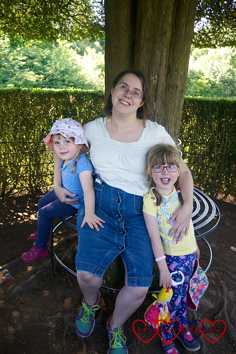 Me, Jessica and Sophie at the top of the spiral path at Packwood House