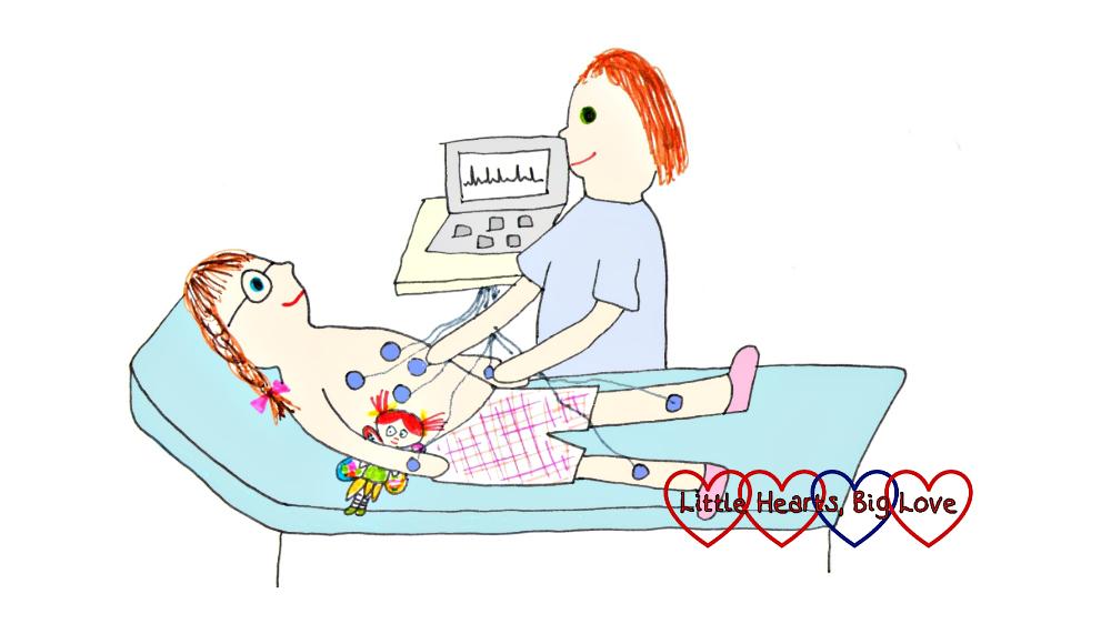 An illustration of Jessica having an ECG