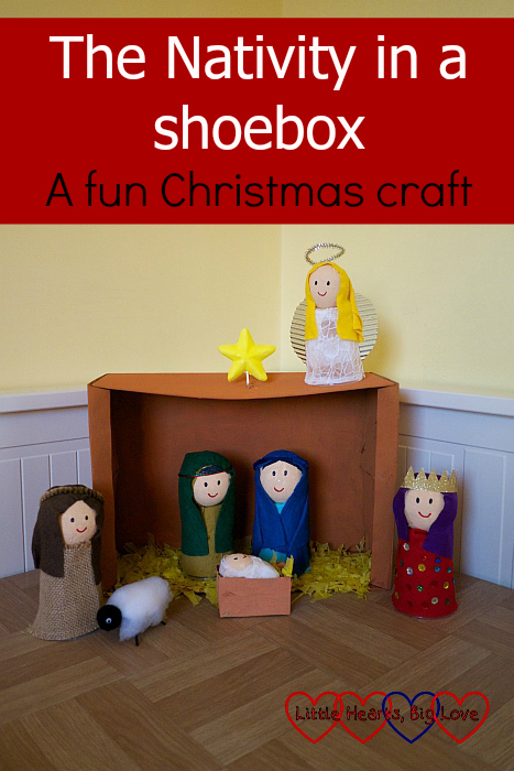 "A Nativity scene in a shoebox showing Mary and Joseph with baby Jesus in the manger; a shepherd with his sheep; a King and an angel - ""A Nativity in a shoebox: a fun Christmas craft"""