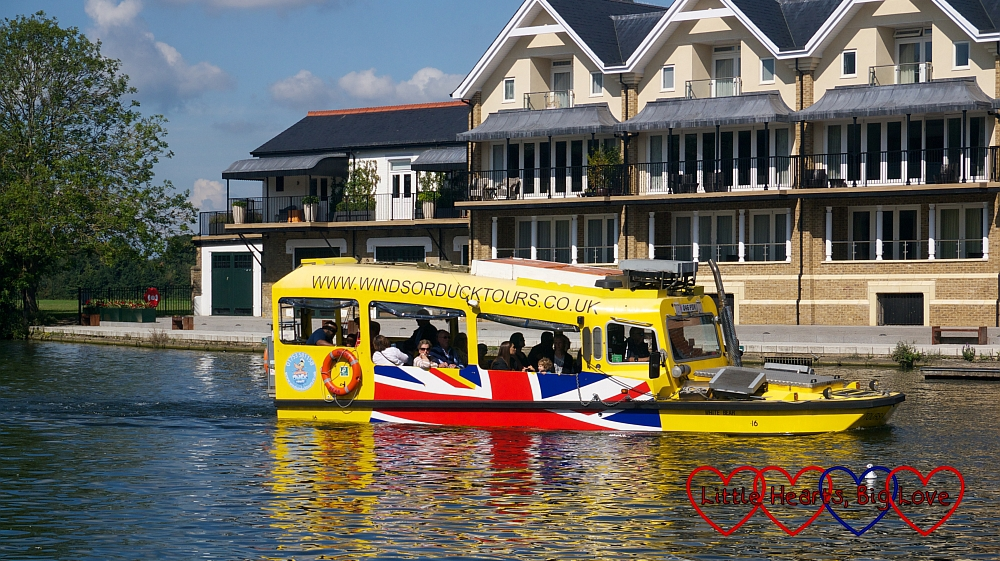 The Duck Tour amphibious vehicle in the water
