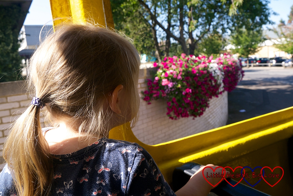 Sophie looking out of the window at some hanging baskets on the road part of the Duck Tour