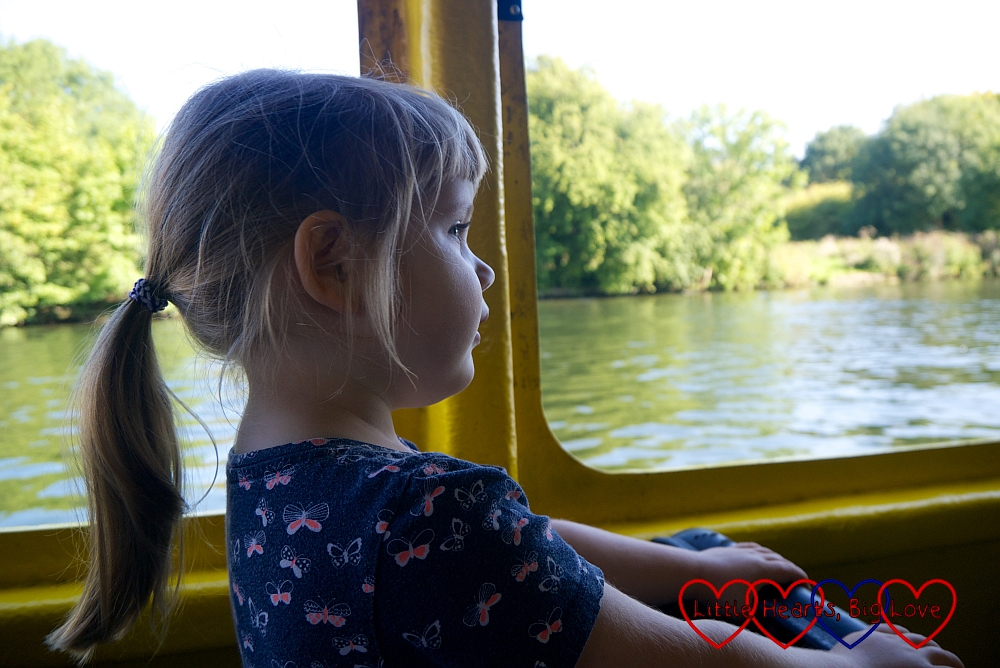 Sophie looking out of the window on the Duck Tour