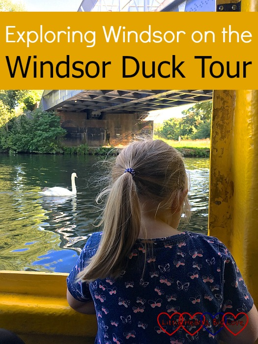"""Sophie sitting on the """"duck bus"""" looking at the swans out of the window - """"Exploring Windsor on the Windsor Duck Tour"""""""