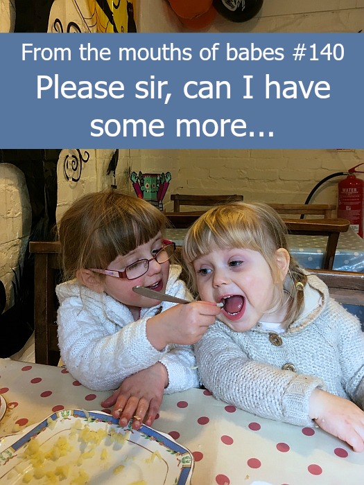 "Jessica feeding Sophie some of her dinner - ""From the mouths of babes #140 - Please sir, can I have some more..."""