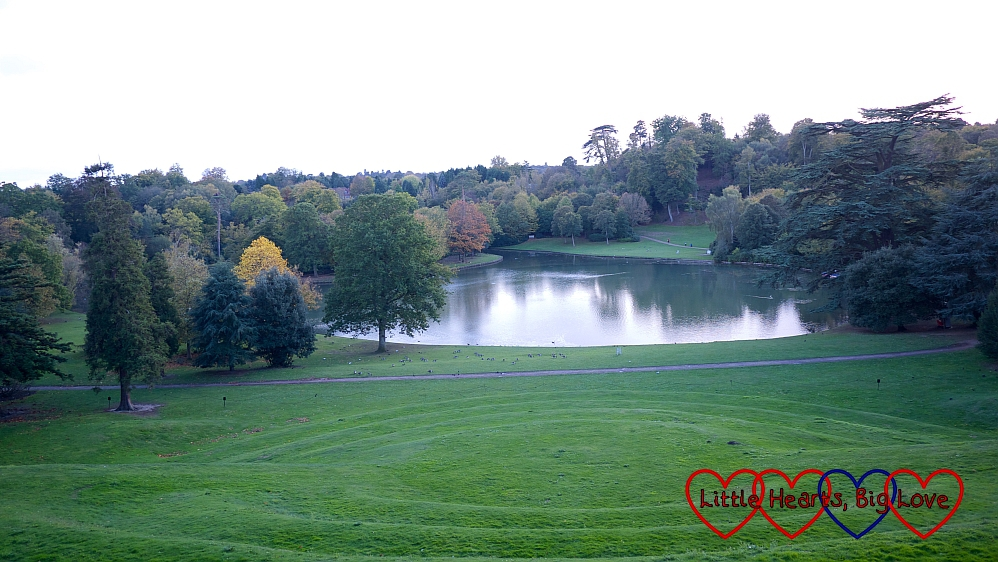The view of the lake at Claremont Landscape Garden from the mausoleum site
