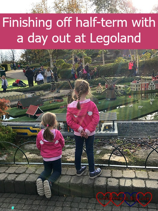 "Jessica and Sophie watching the train in the Holland part of Miniland - ""Finishing off half-term with a day out at Legoland"""