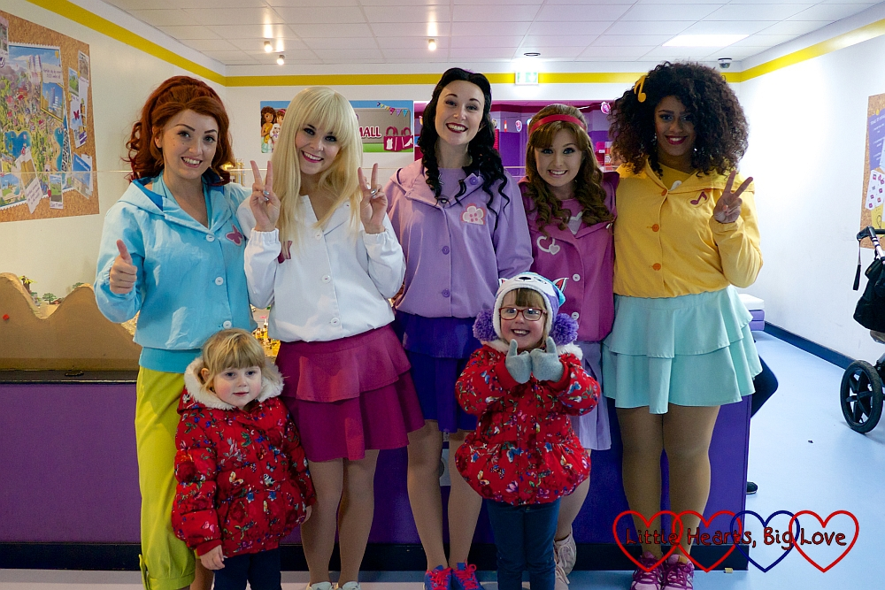 Jessica and Sophie with the five Lego Friends