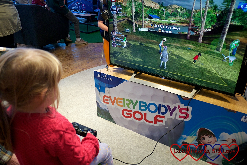 Sophie playing Everybody's Golf on the PS4
