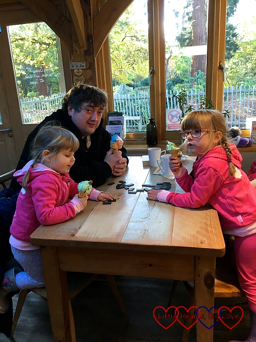 Hubby, Jessica and Sophie enjoying ice-creams at Langley Park cafe