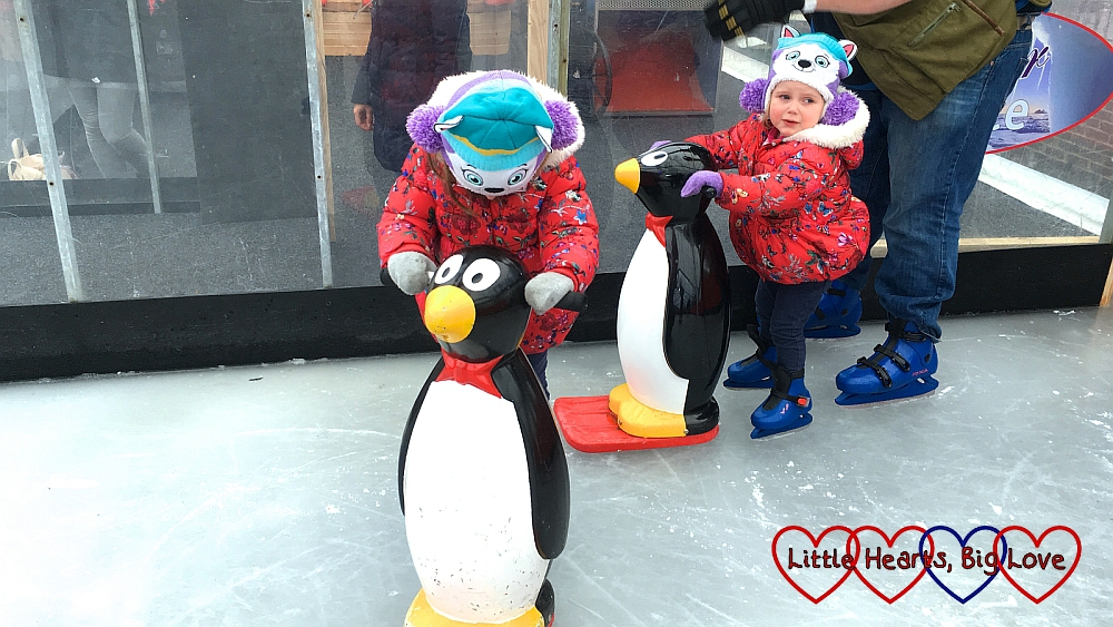 Jessica and Sophie with their penguin skate aids