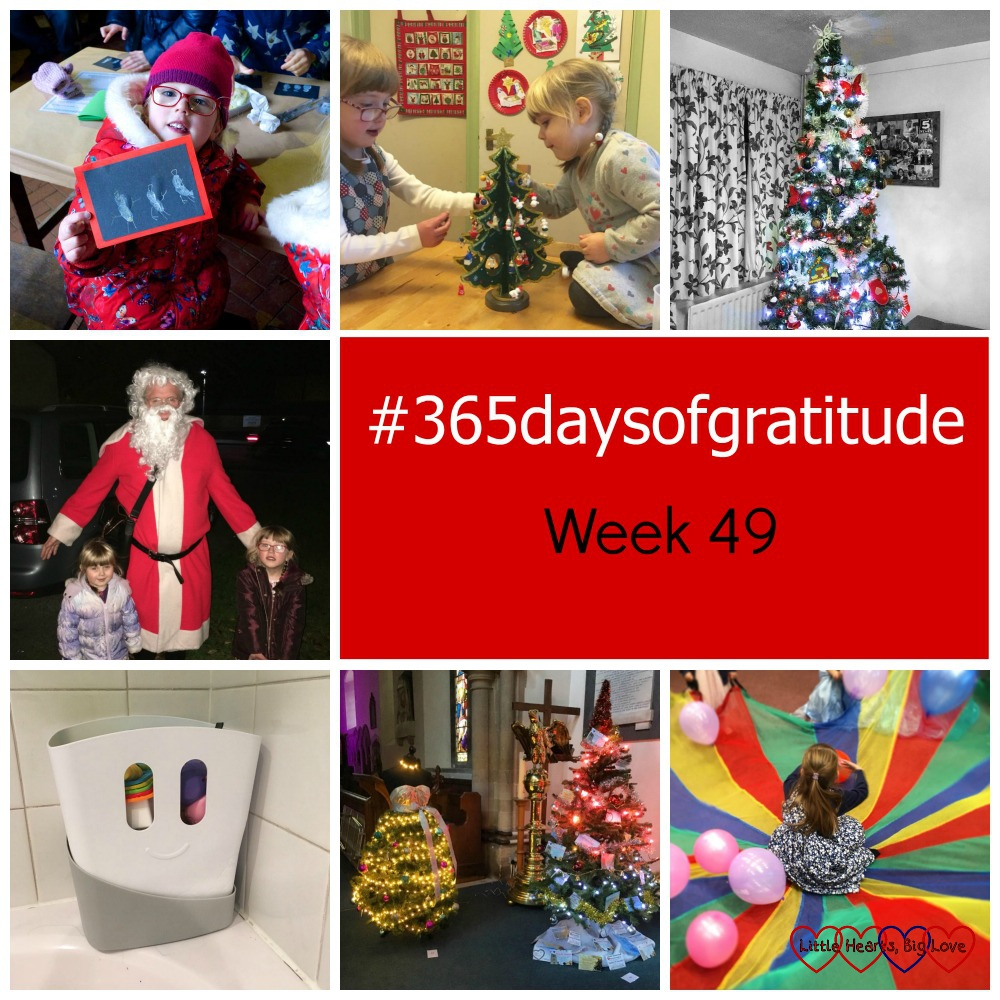 "Jessica with her thumbprint snowman card; Jessica and Sophie decorating their wooden Christmas tree; the big Christmas tree in the lounge; Jessica and Sophie with Father Christmas; my new bath toy tidy; two trees at the Christmas tree festival; Jessica sitting in the middle of the parachute at her friend's birthday party - ""#365daysofgratitude - Week 49"""