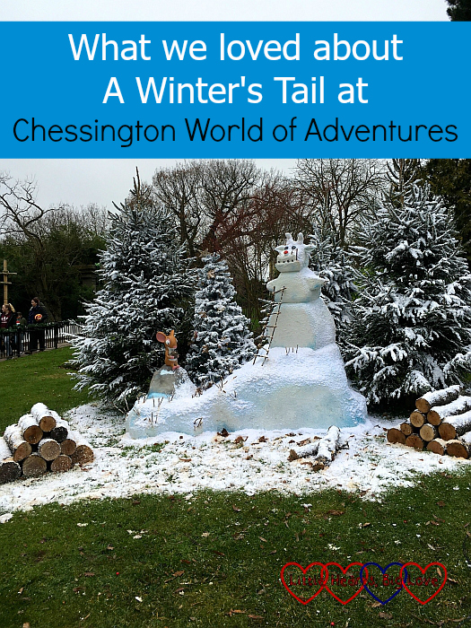"A Gruffalo-themed snowman with a Mouse sitting next to it - ""What we loved about A Winter's Tail at Chessington World of Adventures"""