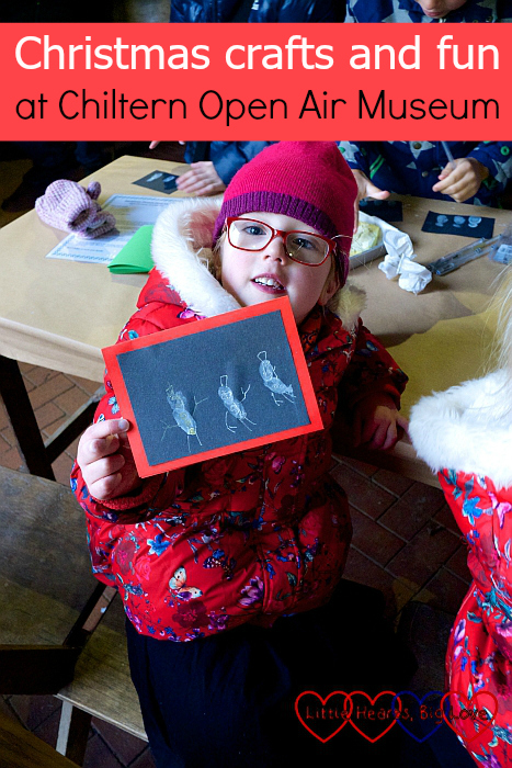 "Jessica with her snowman fingerprint card - ""Christmas crafts and fun at Chiltern Open Air Museum"""