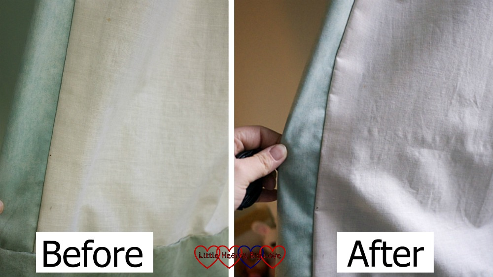 The before and after shots of my bedroom curtains showing them looking visibly cleaner