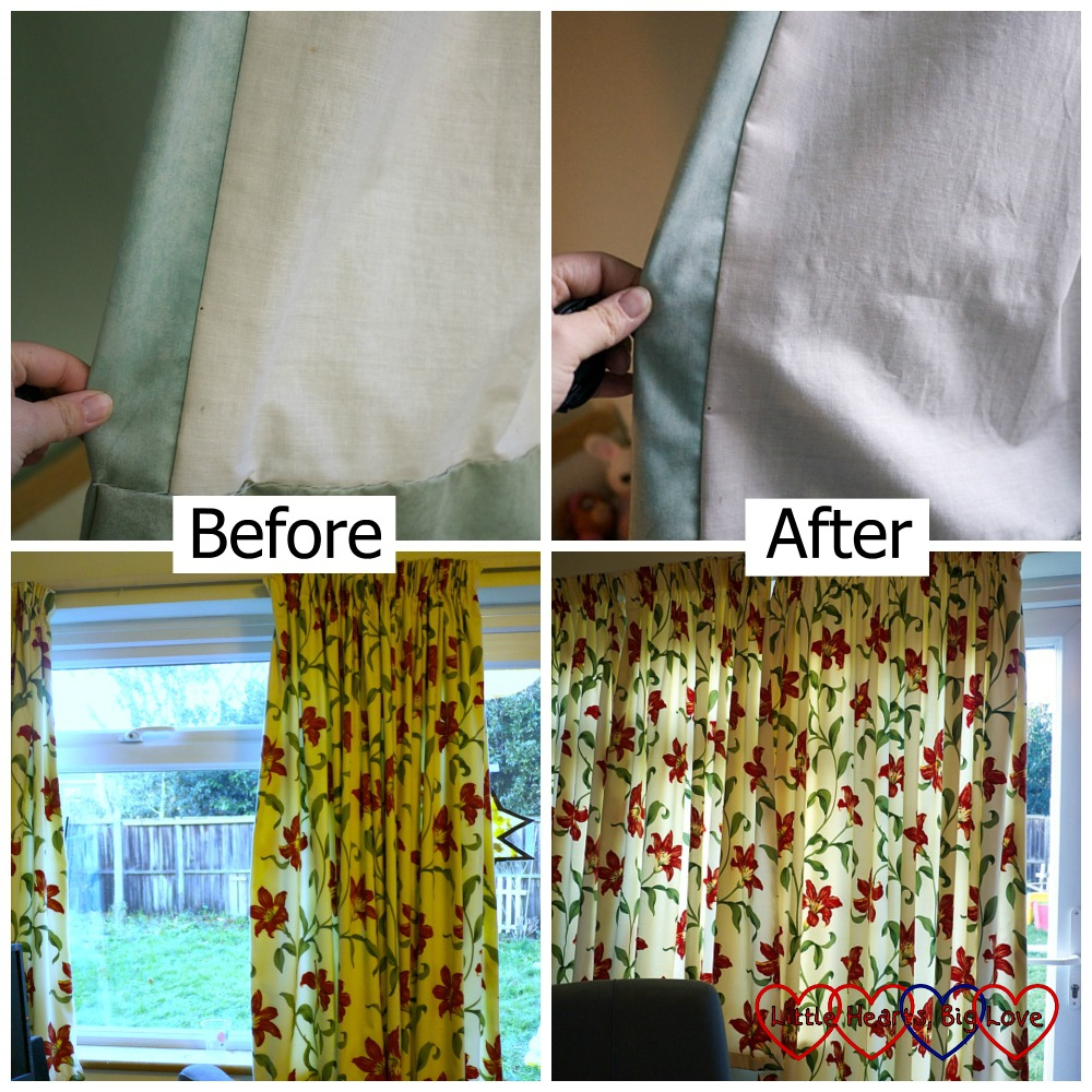 The before and after shots of my bedroom and lounge curtains showing that they are visibly cleaner