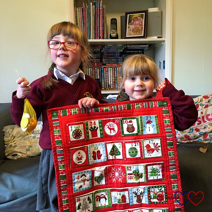 Jessica and Sophie with their advent calendar from Godmummy Gillian