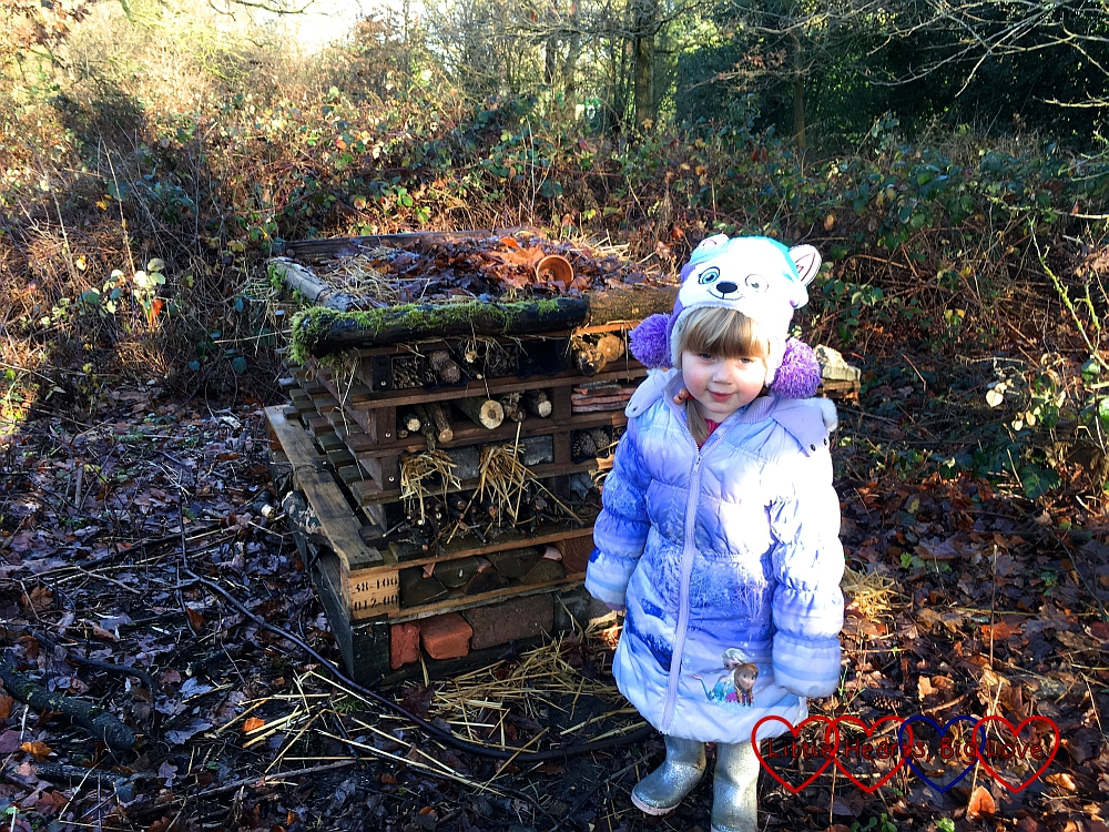 Sophie with the bug hotel we spotted while out on a walk