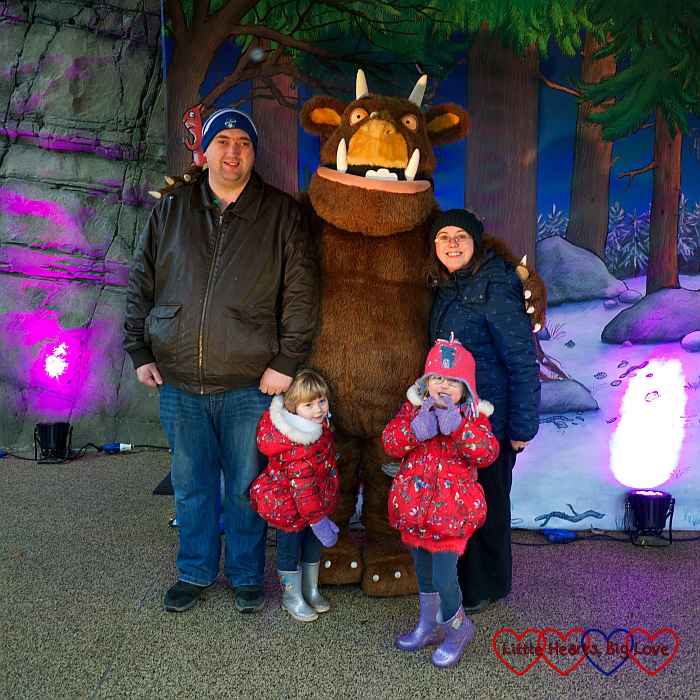 Me, hubby, Jessica and Sophie with the Gruffalo at Chessington World of Adventures