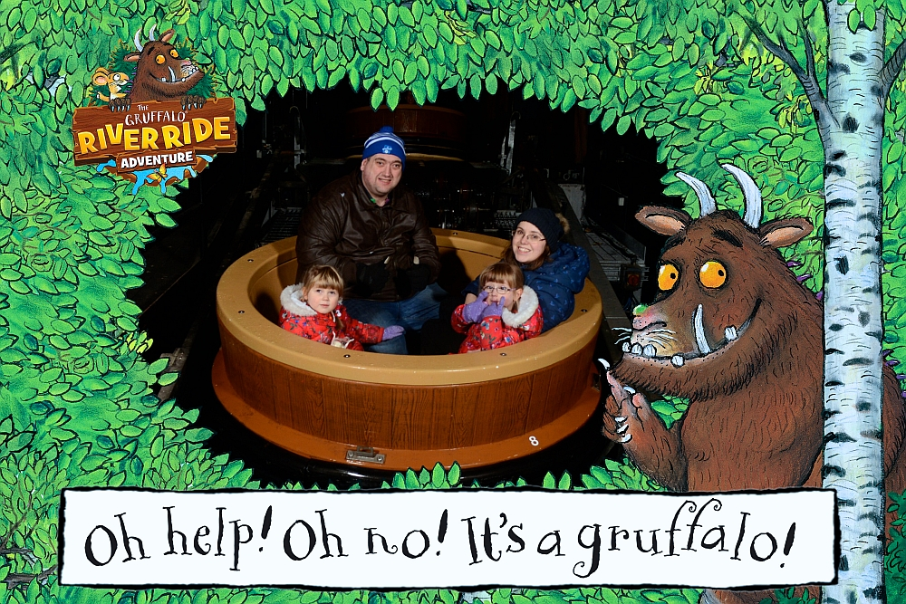 Me, hubby, Jessica and Sophie on the Gruffalo ride at Chessington World of Adventures