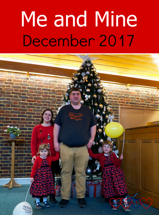 "Me, hubby, Jessica and Sophie in front of the Christmas tree at church - ""Me and Mine - December 2017"""