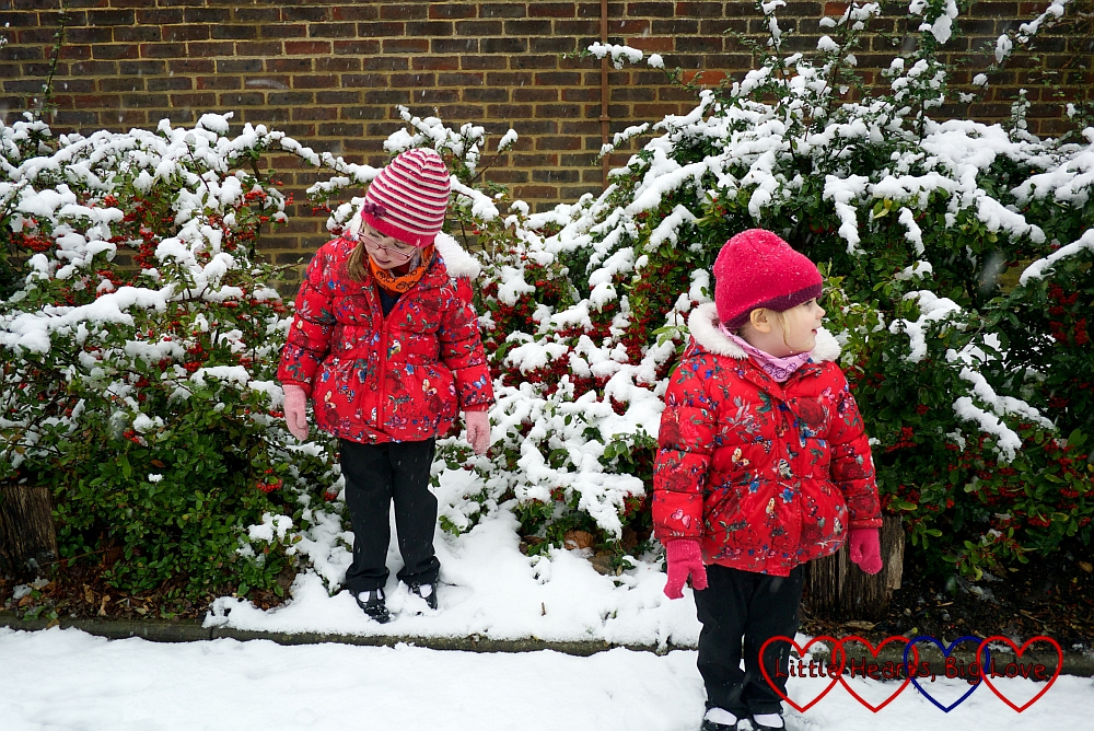Jessica and Sophie playing in the snow