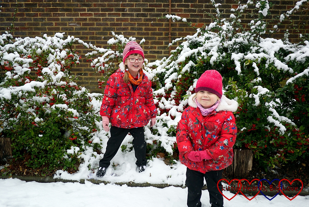 Sophie and Jessica playing in the snow