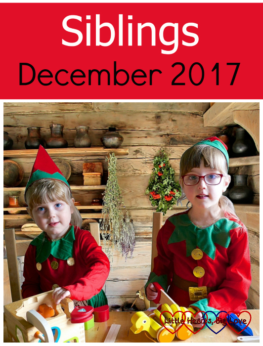 """Jessica and Sophie dressed as elves and """"making"""" wooden toys - """"Siblings - December 2017"""""""