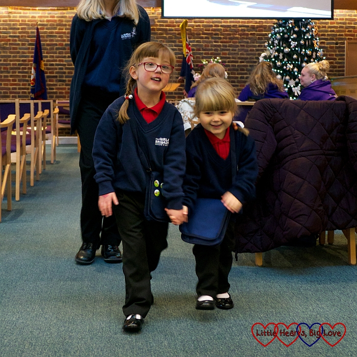 Jessica and Sophie in their Girls' Brigade uniforms
