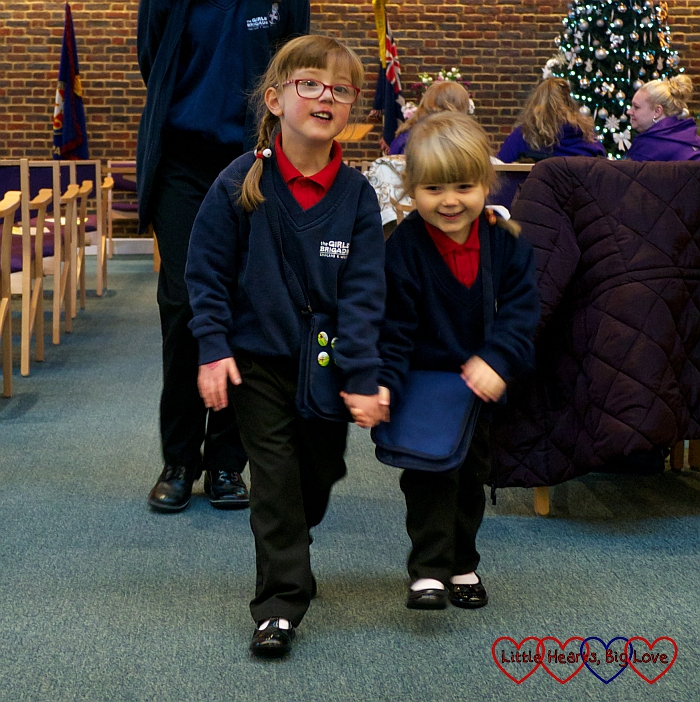 Sophie and Jessica at church in their Girls' Brigade uniforms