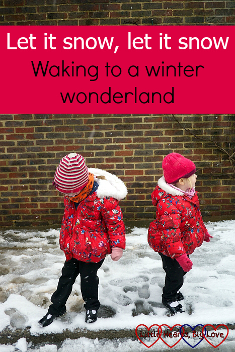 """Jessica and Sophie in the snow outside church - """"Let it snow, let it snow: Waking to a winter wonderland"""""""