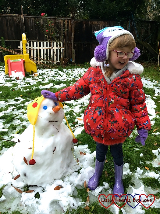 Jessica with Sophie's snowman